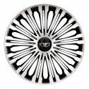 4 RACING Volante Silver&Black R13 Колпаки для колес с логотипом Daewoo (Комплект 4 шт.)