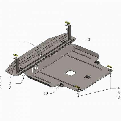 Kolchuga Защита двигателя, КПП и радиатора на Hyundai Santa Fe III '12-18 (V-2,4)