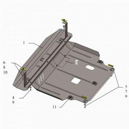 Kolchuga Защита двигателя, КПП и радиатора на Hyundai Santa Fe III '12-18 (V-2,2D)