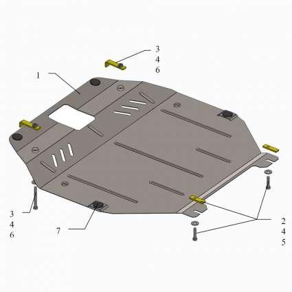 Kolchuga Защита двигателя, КПП и радиатора на Hyundai Sonata VI (YF) '09-14 (овальный подрамник)