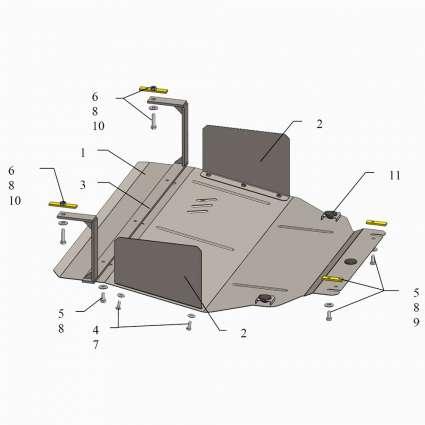 Kolchuga Защита двигателя, КПП и радиатора на Hyundai Sonata VI (YF) '09-14 (подрамник, как знак бесконечности)