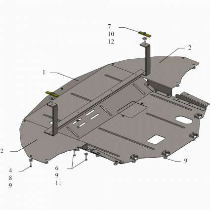 Kolchuga Защита двигателя, КПП и радиатора на Hyundai Sonata VII (LF) '14-