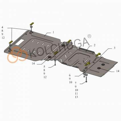Kolchuga Защита двигателя, КПП и РКПП на Mercedes-Benz R500 W251 '06-