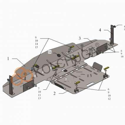 Kolchuga Защита двигателя и радиатора на Mercedes-Benz E-Class W210 '95-02