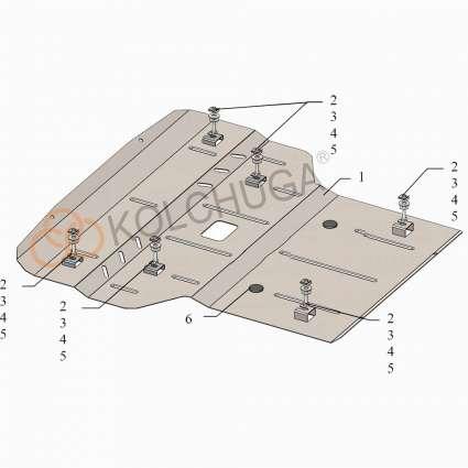 Kolchuga Защита двигателя, радиатора и рулевых реек на Mercedes-Benz E-Class W211 '02-09