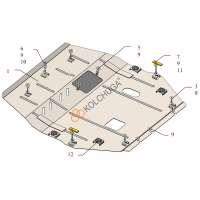 Kolchuga Защита двигателя, КПП и радиатора на Mitsubishi Eclipse Cross '17-