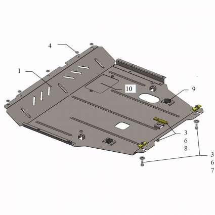 Kolchuga Защита двигателя, КПП и радиатора на Suzuki SX4 II '13-