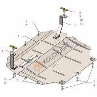 Kolchuga Защита двигателя и КПП на Volkswagen Passat B7 '10-