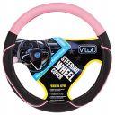 Vitol Оплетка на руль (каркасная) VJX 163127 PNK , размер M, Кожзам черный с розовыми вставками