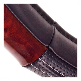 Vitol Оплетка на руль (каркасная) PU 100606, размер M, Черный кожзам с вставкой под красное дерево