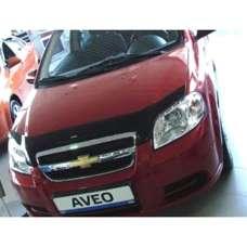 "SIM Chevrolet Aveo T250 '06-11 седан Дефлектор капота ""мухобойка"" (темный)"