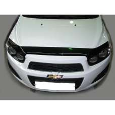 "SIM Chevrolet Aveo T300 '11- Дефлектор капота ""мухобойка"" (темный)"