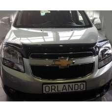 "SIM Chevrolet Orlando '10- Дефлектор капота ""мухобойка"" (темный)"