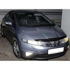 "SIM Honda Civic VIII '06-11 хэтчбек Дефлектор капота ""мухобойка"" (темный)"