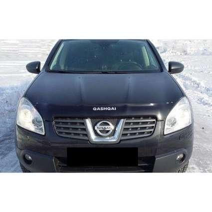 "SIM Nissan Qashqai I '07-10 Дефлектор капота ""мухобойка"" (темный с логотипом)"