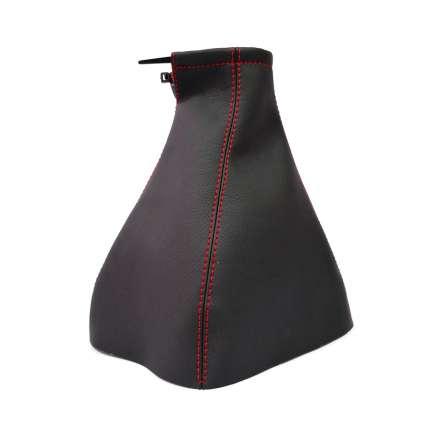 Чехол ручки КПП Skoda Octavia I '96-10 (Черный кожзам/Красная нить)