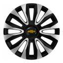 4 RACING Avalon Carbon Silver&Black R16 Колпаки для колес с логотипом Chevrolet (Комплект 4 шт.)