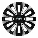 4 RACING Avalon Carbon Silver&Black R16 Колпаки для колес с логотипом Daewoo (Комплект 4 шт.)