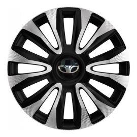 4 RACING Avalon Carbon Silver&Black R13 Колпаки для колес с логотипом Daewoo (Комплект 4 шт.)