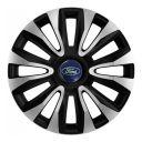4 RACING Avalon Carbon Silver&Black R16 Колпаки для колес с логотипом Ford (Комплект 4 шт.)