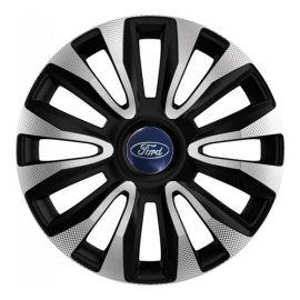 4 RACING Avalon Carbon Silver&Black R15 Колпаки для колес с логотипом Ford (Комплект 4 шт.)