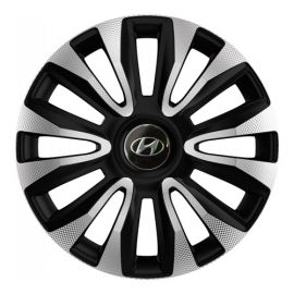 4 RACING Avalon Carbon Silver&Black R13 Колпаки для колес с логотипом Hyundai (Комплект 4 шт.)