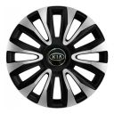4 RACING Avalon Carbon Silver&Black R16 Колпаки для колес с логотипом Kia (Комплект 4 шт.)