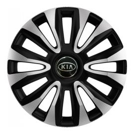 4 RACING Avalon Carbon Silver&Black R15 Колпаки для колес с логотипом Kia (Комплект 4 шт.)