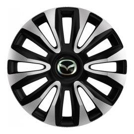 4 RACING Avalon Carbon Silver&Black R16 Колпаки для колес с логотипом Mazda (Комплект 4 шт.)