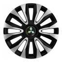 4 RACING Avalon Carbon Silver&Black R16 Колпаки для колес с логотипом Mitsubishi (Комплект 4 шт.)
