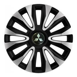 4 RACING Avalon Carbon Silver&Black R15 Колпаки для колес с логотипом Mitsubishi (Комплект 4 шт.)