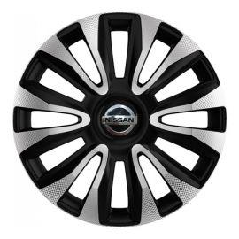 4 RACING Avalon Carbon Silver&Black R14 Колпаки для колес с логотипом Nissan (Комплект 4 шт.)