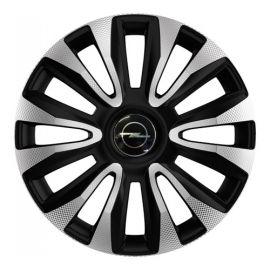 4 RACING Avalon Carbon Silver&Black R14 Колпаки для колес с логотипом Opel (Комплект 4 шт.)