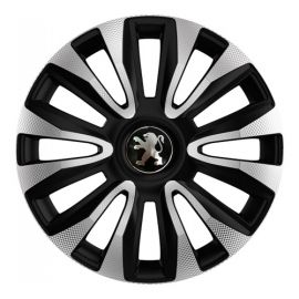 4 RACING Avalon Carbon Silver&Black R15 Колпаки для колес с логотипом Peugeot (Комплект 4 шт.)