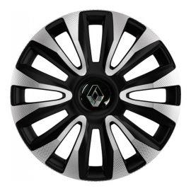 4 RACING Avalon Carbon Silver&Black R13 Колпаки для колес с логотипом Renault (Комплект 4 шт.)