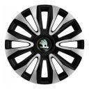 4 RACING Avalon Carbon Silver&Black R16 Колпаки для колес с логотипом Skoda (Комплект 4 шт.)