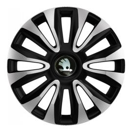 4 RACING Avalon Carbon Silver&Black R13 Колпаки для колес с логотипом Skoda (Комплект 4 шт.)