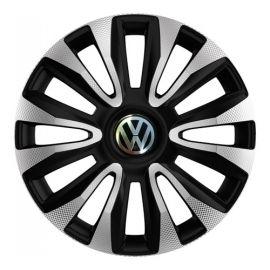 4 RACING Avalon Carbon Silver&Black R16 Колпаки для колес с логотипом Volkswagen (Комплект 4 шт.)