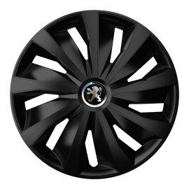 4 RACING Grip Pro Black R16 Колпаки для колес с логотипом Peugeot (Комплект 4 шт.)