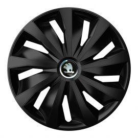 4 RACING Grip Pro Black R16 Колпаки для колес с логотипом Skoda (Комплект 4 шт.)