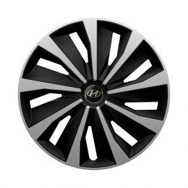 4 RACING Grip Silver&Black R13 Колпаки для колес с логотипом Hyundai (Комплект 4 шт.)