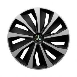 4 RACING Grip Silver&Black R13 Колпаки для колес с логотипом Mitsubishi (Комплект 4 шт.)