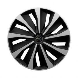 4 RACING Grip Silver&Black R15 Колпаки для колес с логотипом Opel (Комплект 4 шт.)