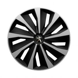 4 RACING Grip Silver&Black R15 Колпаки для колес с логотипом Peugeot (Комплект 4 шт.)