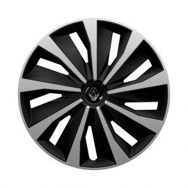 4 RACING Grip Silver&Black R15 Колпаки для колес с логотипом Renault (Комплект 4 шт.)