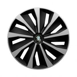 4 RACING Grip Silver&Black R13 Колпаки для колес с логотипом Skoda (Комплект 4 шт.)