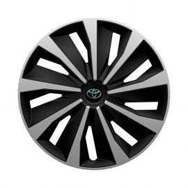 4 RACING Grip Silver&Black R14 Колпаки для колес с логотипом Toyota (Комплект 4 шт.)