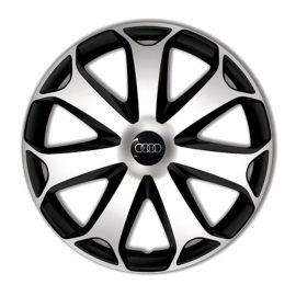 4 RACING Mega Silver&Black R16 Колпаки для колес с логотипом Audi (Комплект 4 шт.)