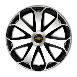 4 RACING Mega Silver&Black R14 Колпаки для колес с логотипом Chevrolet (Комплект 4 шт.)