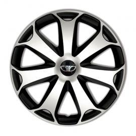 4 RACING Mega Silver&Black R14 Колпаки для колес с логотипом Daewoo (Комплект 4 шт.)